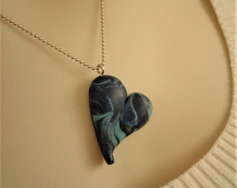 Blue Handcrafted Heart Pendant Necklace