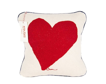 Heart Kiddo Pillows, Red, Yellow, Navy, Hot Pink or Berry