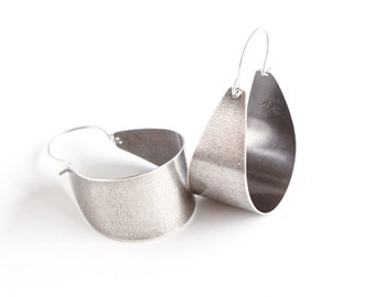 """Wide silver earrings in a unique arc shape to form a modern hoop design complemented with an oxidized finish - """"Silver Scoops Earrings"""""""
