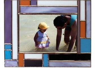Cadre photo multicolore vitrail avec des Accents de cuivre pour une Photo 4 x 6