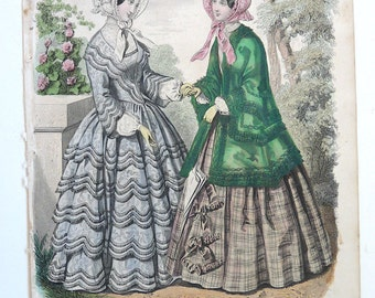 Lady French fashion print Graham's magazine 1850 hand colored engraving costume bonnets