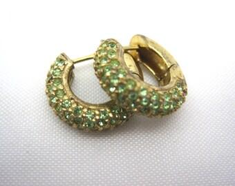 Vintage Sterling Hug Earrings - Gold Peridot