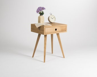 Mid Century Modern Nightstand Bedside Table End With Solid Oak Wood Drawer
