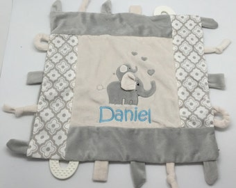 Baby Boy Personalized Taggy Blankie with elephant, Personalized baby gift, puppy gator duck