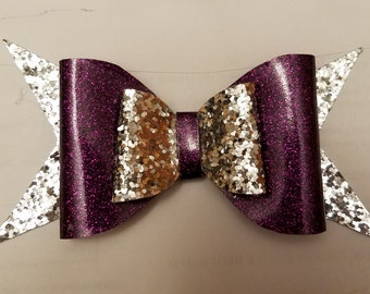 Regal Purple & Silver Double Stack Bow