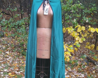 Long Green Satin Hooded Cape