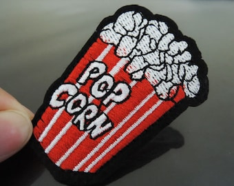 Pop Corn Letter Patches - Iron on or Sewing on Patch PopCorn Letter Patches Red White Patch Embellishments Embroidery fonts