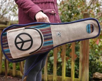 Hemp & Cotton Mandolin Case Unique Peace CND Gig Bag - Hippy Festival Music Instrument Boho Eco