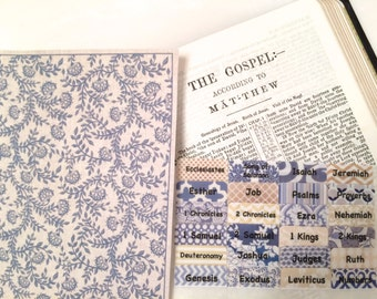 STANDARD Blue/Beige/Cream Country Calico Books of Bible Tabs by Victoria Anderson
