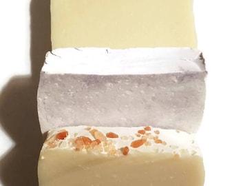 Soap Samples, Grapefruit Patchouli Soap, Salt Soap, Lavender Soap, Soap Sample Set, Soap Sampler, Sampler Set, Himalayan Salt Soap Sample