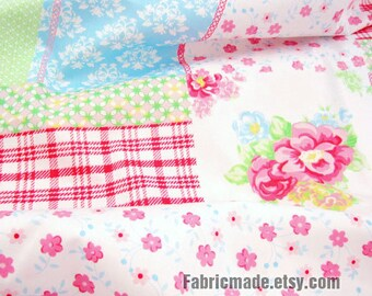 Pink Flower Fabric, Shabby Chic Cotton Fabric, Flower Plaid Quilting Cotton Fabric- 1/2 Yard