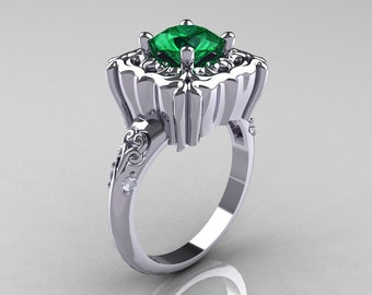 Modern Antique 14K White Gold 1.0 Carat Emerald Diamond Engagement Ring AR116-14KWGDEM