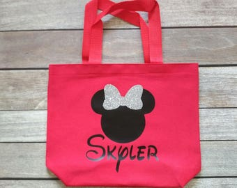 Disney Inspired Minnie Mouse Tote Personalized Kids Tote Halloween Trick or Treat Bag Birthday Party Bags