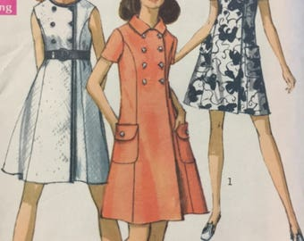 1960s Coat Dress, Simplicity 8586, Sewing Pattern, Step In, Round Neckline, Button Closing, Short Sleeves, Sleeveless, Double Breasted