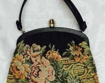 Vintage Black Cloth Tapestry Evening Bag Classic Good Size Fit Iphone Excellent Condition