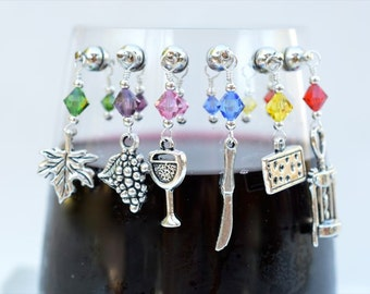 6 Wine Charms Magnetic Wine Lovers grape cheese knife leaf