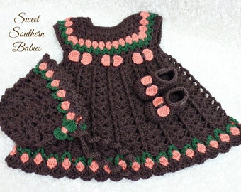 Baby Girl's Fall Dress / Bonnet / Mary Jane Shoes - Newborn to 18 Months