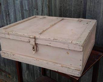 Vintage Painted Pink Storage Box