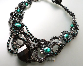 Fifty shades of Teal - freeform beadwoven necklace