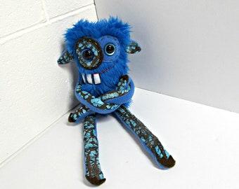Plush Monster - Handmade Monster Plush - OOAK Stuffed Monster - Royal Blue Faux Fur Monster - Hand Embroidered - Weird Cute Plush Toy