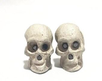 Sterling silver sandblasted skull diamond cufflinks