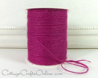 "Burlap Cord String, Grape Berry Twine - 400 YARD ROLL - Natural Twisted Burlap Jute - May Arts ""Grape"" #36 Magenta, Rustic Prim Craft"