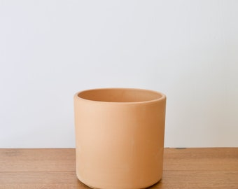 Mid Century Modern Planter, Unglazed Planter, Ceramic Cylinder Pot, Indoor Planter, Terra Cotta Cylinder Pot