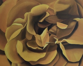 """Yellow Rose Oil Painting - gallery wrapped canvas - 32"""" x 24"""""""