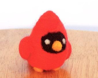 Needle Felted Cardinal Bird Soft Sculpture - Made to Order - Felt Red Cardinal Art Doll - Felted Cardinals - Male Cardinal Figurine