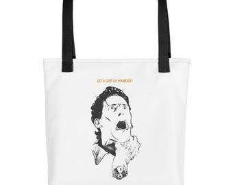 Get a Grip of Yourself Tote Bag Made in the USA Funny Humor Gift Ideas Present Monster Zombie Fashion Womens Mens