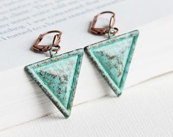 Rustic Triangle Earrings, Mint Green Dangles on Antiqued Copper Plated Hooks, Patina Jewelry