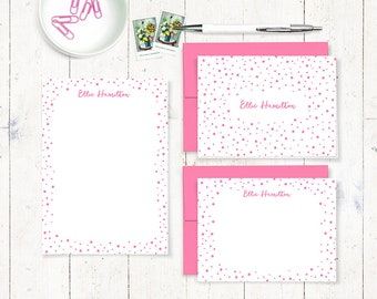 complete personalized stationery set - CONFETTI - note cards - notepad - fun stationary set - polka dots - party stationary gift set