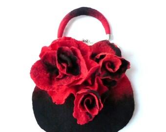 Felt bag Felted bag felt woman's bag  Felt bag merino wool handbags Art bag flower bag,Unique bag,