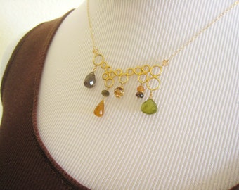 Gold Gemstone Necklace Gemstone Necklace Gold Circle Necklace Geometric Necklace Modern Jewelry Bubble Necklace Fall Winter Trend Gift Idea