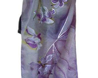 Purple Silk Scarf, Handpainted Scarfs,  Floral Hand Painted Scarves, Floral Scarves, Summer Shaw, Silk Wrap, Scarf for Women, Purple Silk