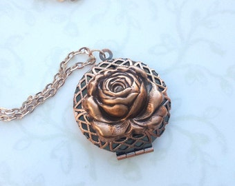 Rose Lace Locket in Matte Rose Gold, Filigree Necklace, Beauty and the Beast, Valentines Day, Diffuser, Tale as Old as Time, Copper