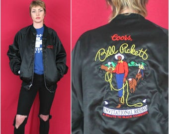 AMAZING 1986 Bill Pickett Tributary Black Bomber Jacket. Vintage Honorary Rodeo Event Coat. Rare 80s Black History Cowboy Jacket.