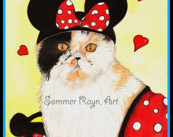 Lucy Ewok, the sweet Persian Cat dressed like Minnie Mouse, card or print portrait -  Drawing with Watercolor accent, Item #0365a