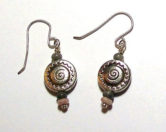Round Pewter Southwest Sun Pattern Earrings with Desert Colored Accent Beads by Carol Wilson of Je t'adorn