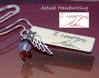 Actual Handwriting • Handwriting Jewelry • Personalized Jewelry • Sterling Silver Necklace • Engraved Charm • In Memory Of • Memorial Gift