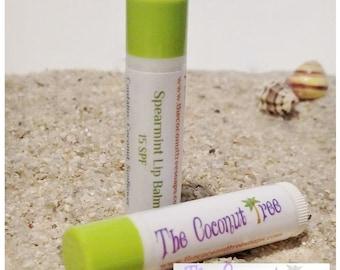Spearmint Flavor Lip Balm // All Natural Lip Balm // Coconut Oil / Shea Butter / Cocoa Butter / SPF Lip Balm