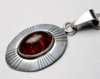 Vintage Sterling Silver Southwestern Amber Ella Peter Native American Signed Pendant Necklace