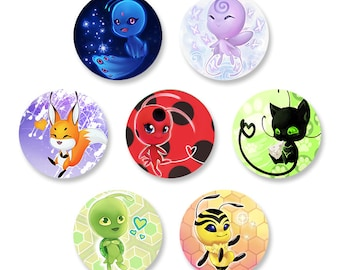 Miraculous Ladybug Kwami Button Set