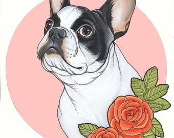 Original-Zeichnung von eine französische Bulldogge, A4-Format, gerahmt