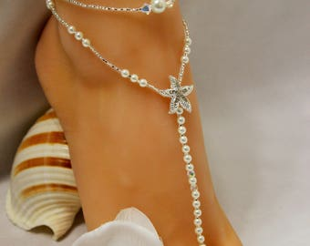 Pearl Silver Barefoot Sandals Bridal Jewelry Bridal Shower Gift Bridesmaid Jewelry Pearl Starfish Foot Jewelry