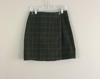 90's Plaid Corduroy Wrap Skirt