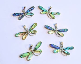 Genuine Abalone Shell, Dragonfly Pendant with Bail,  Clear Rhinestones, Platinum Plated , 2 Inches,  CLJewelrySupply,
