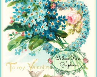 Valentine forget me nots vintage shabby cottage Large digital download ECS buy 3 get one free perfect for VALENTINES day