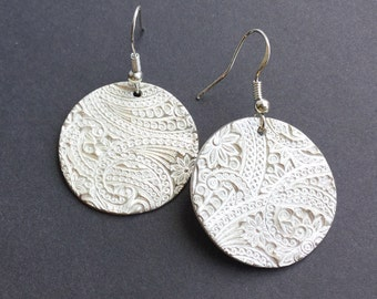 Round Fine Silver Paisley Earrings, Paisley Textured Dangle Earrings,gift under100,gift for women,Fine Jewelry,Handmade Original,Christmas