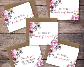 Printable Will You Be My Card Set - Be My Bridesmaid, Maid of Honor, Matron of Honor, Instant Download Greeting Card - Wedding Card -Lincoln